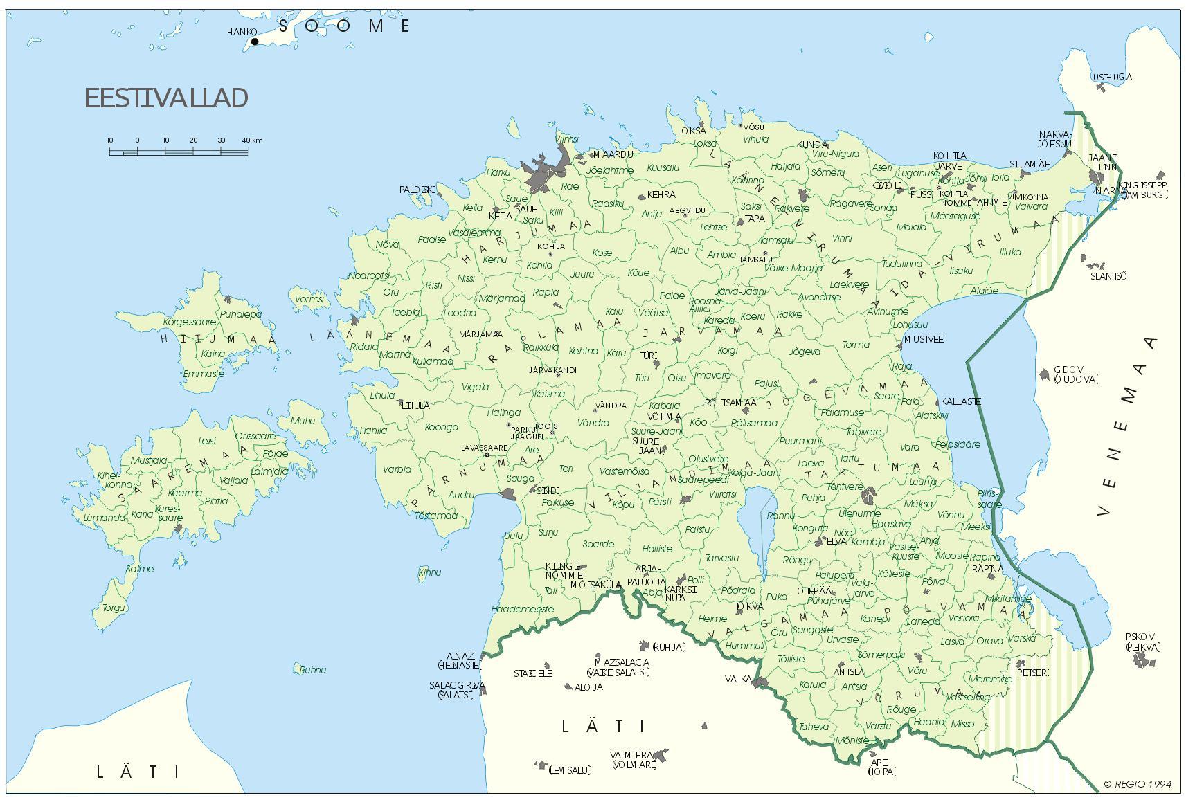Топографическая карта Эстонии