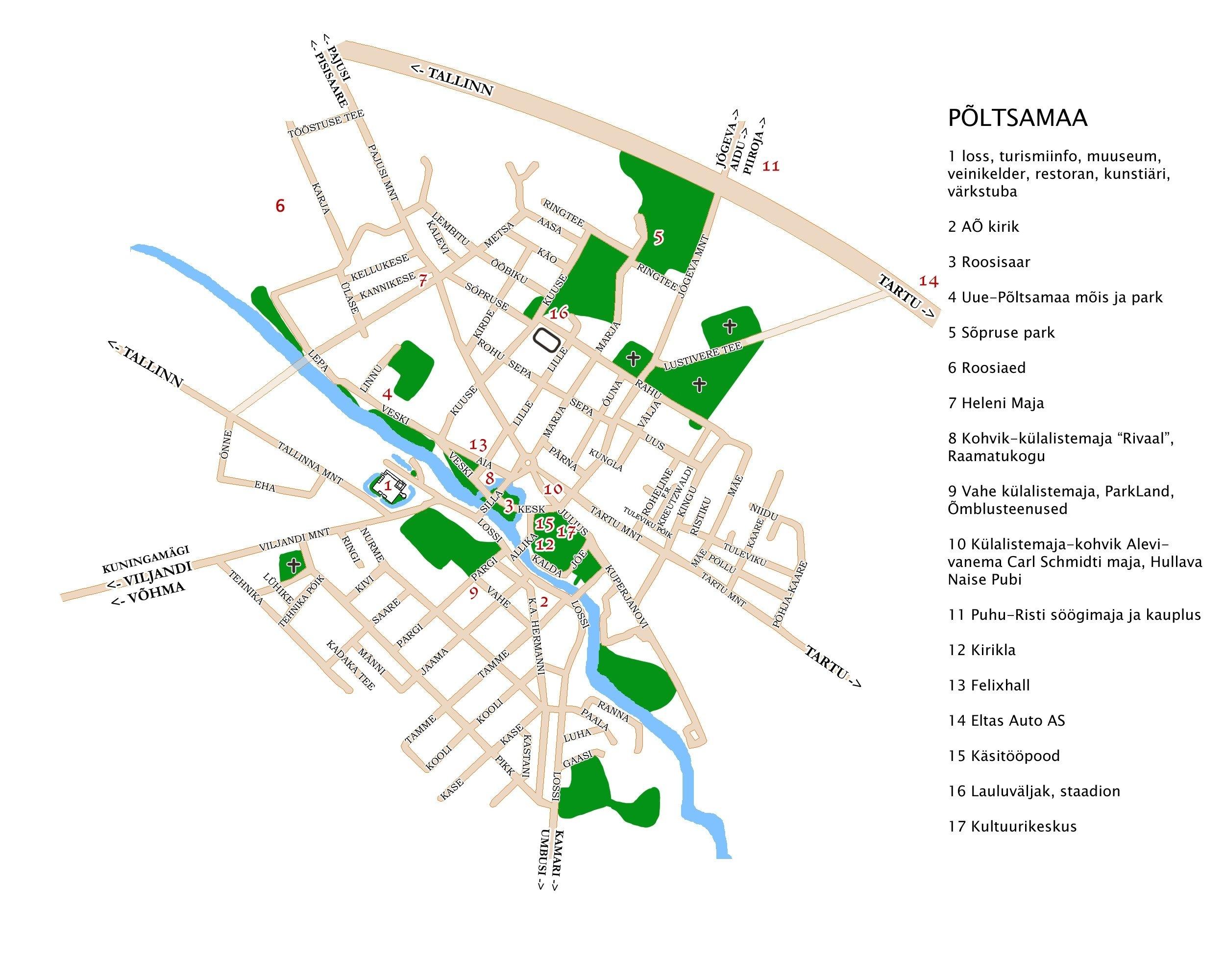 Карта города Пылтсамаа