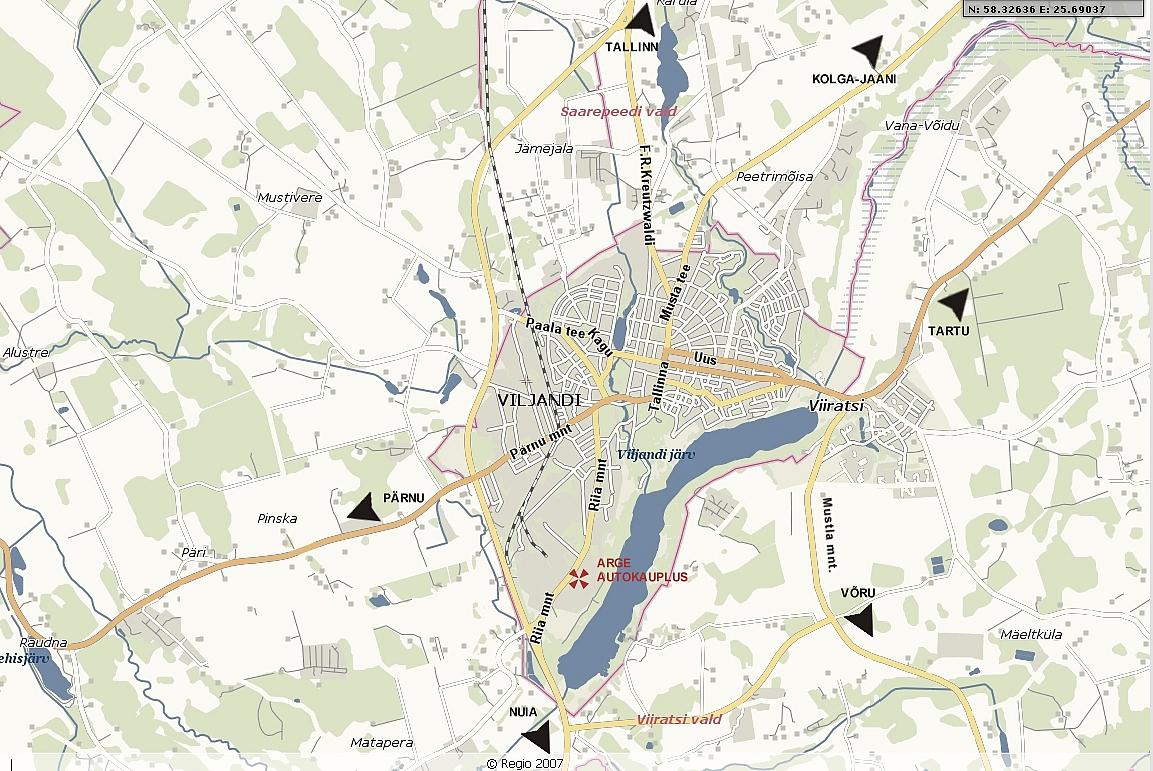 Карта города Вильянди