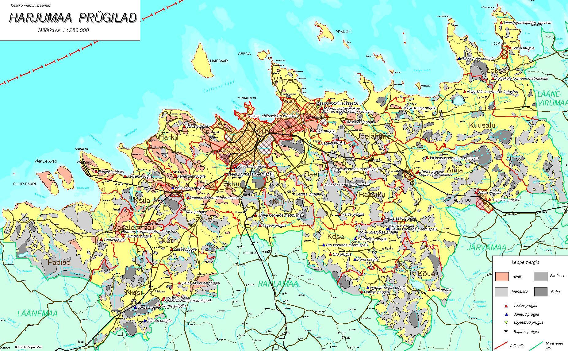 Топографическая карта уезда Харьюмаа