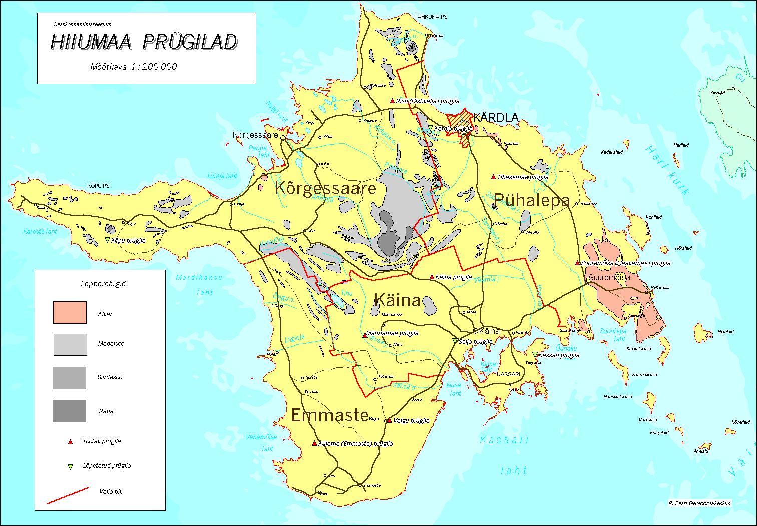 Топографическая карта уезда Хийумаа