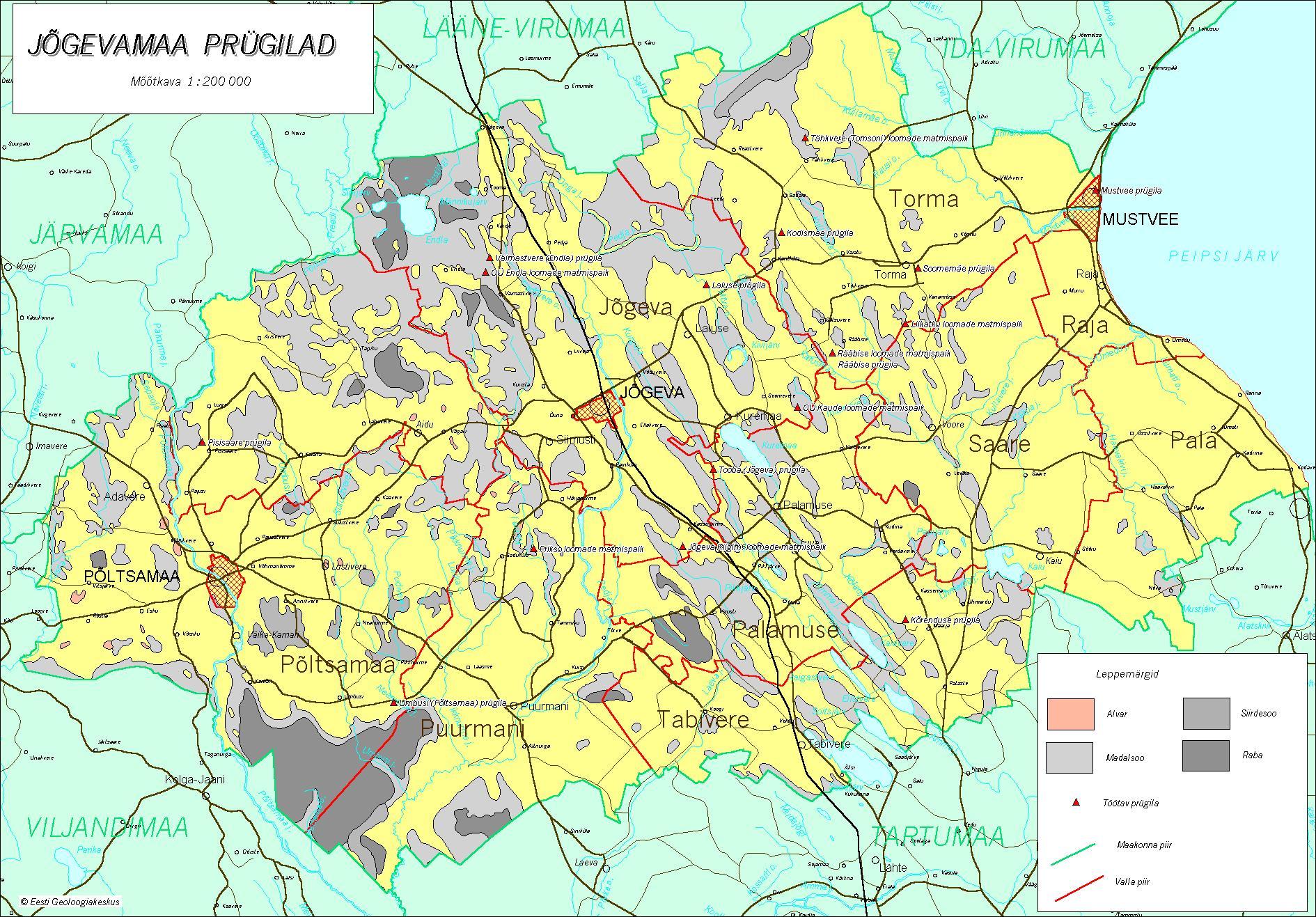 Топографическая карта уезда Йыгевамаа
