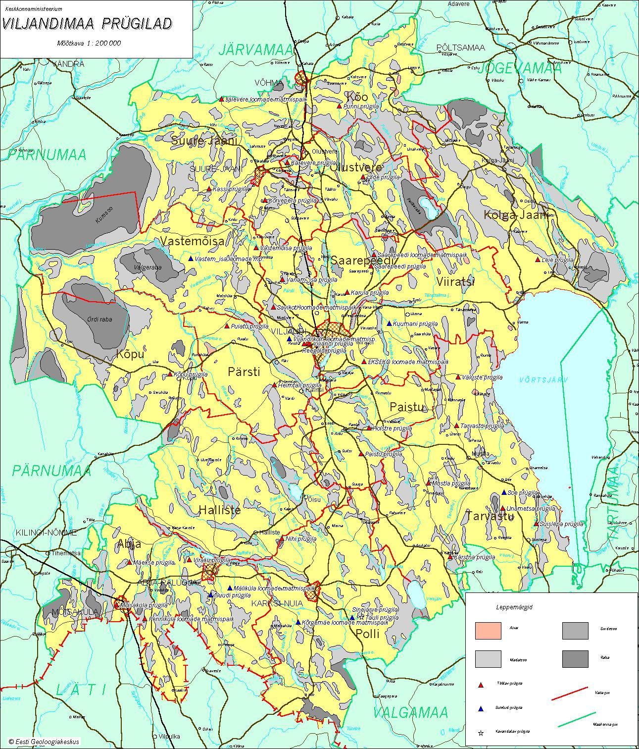 Топографическая карта уезда Вильяндимаа